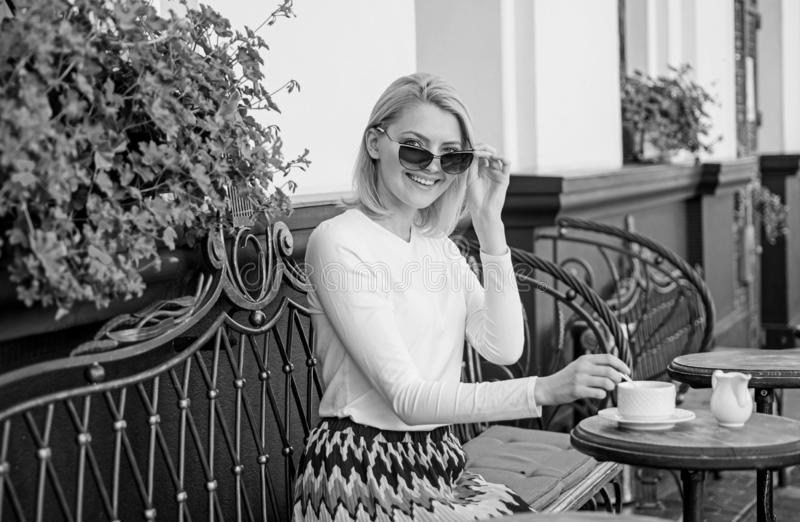 Great start of day. Mug of good coffee in morning gives me energy charge. Woman elegant happy face have coffee cafe. Terrace outdoors. Girl drink coffee every royalty free stock images
