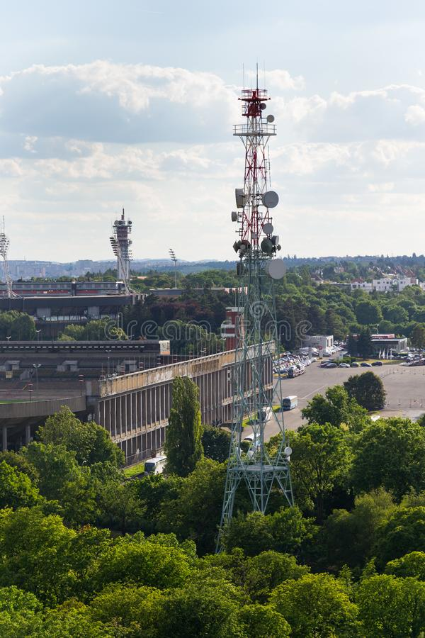 The Great Strahov Stadium with telecommunication tower seen from Petrin tower on sunny summer day in Prague. PRAGUE, CZECH REPUBLIC - JUNE 17 2017: The Great stock image
