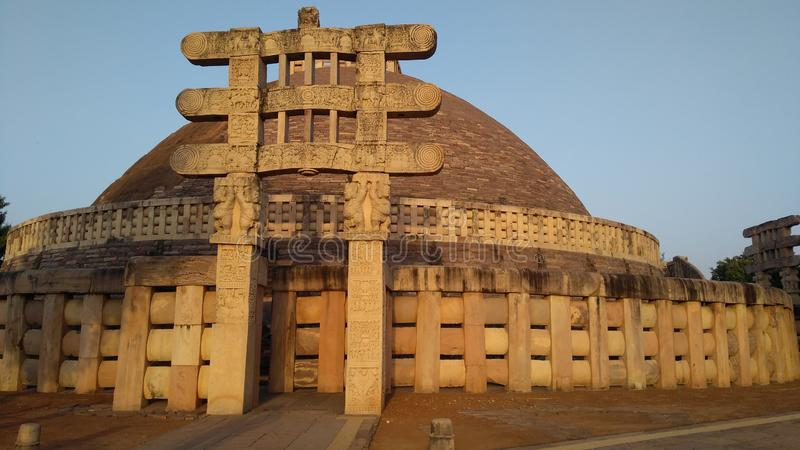 Great Stupa of sanchi from westside during sunset. Photo of westgate of  great stupa of sanchi, India. Buddhist monument world heritage site, made in 3rd century royalty free stock image