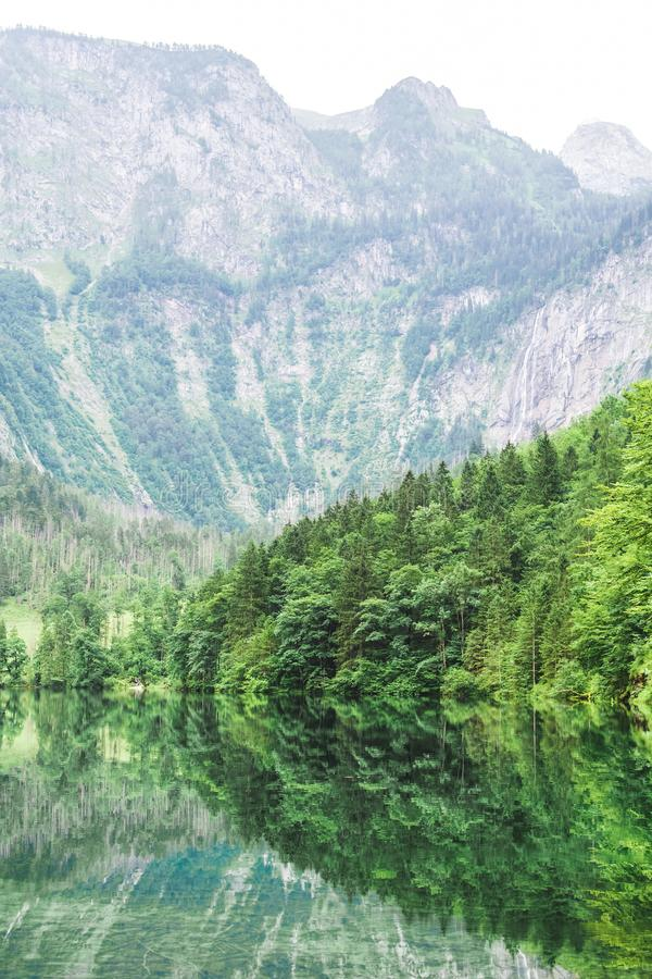 Great summer panorama of the Obersee lake. Green morning scene of Swiss Alps, Nafels village location, Switzerland, Europe. Beauty royalty free stock photo