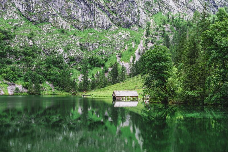 Great summer panorama of the Obersee lake. Green morning scene of Swiss Alps, Nafels village location, Switzerland, Europe. Beauty stock photography