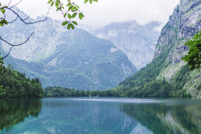 Great summer panorama of the Obersee lake. Green morning scene of Swiss Alps, Nafels village location, Switzerland, Europe. Beauty stock images