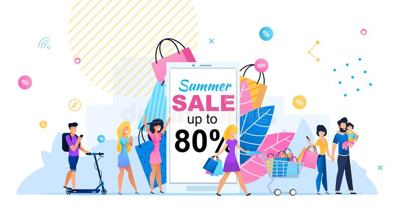 Great Summer Sales up to 80 Percent Flat Banner. Summer Sales up to 80 Percent Flat Banner. Cartoon People Shopping. Happy Women and Man on Scooter, Parents with vector illustration