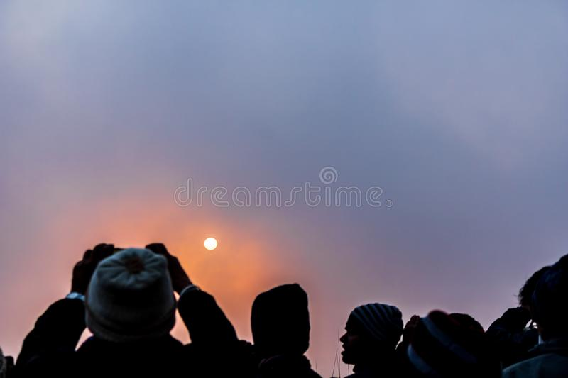 A great Sunrise moments at tiger hill darjeeling. Its a most common travel point in Darjeeling in west Bengal, India stock photos