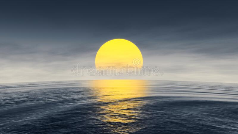 Great sunset over the ocean with curved horizon. A great sunset over the ocean with curved horizon 3d illustration stock photography