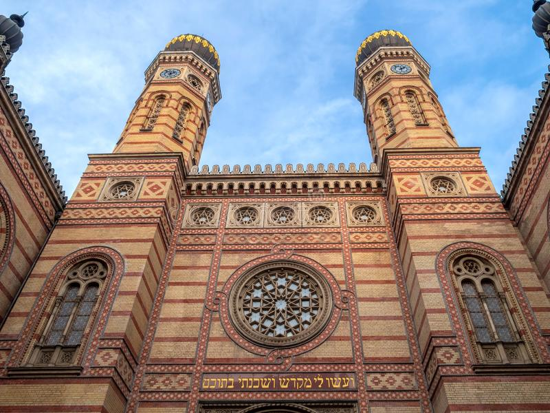 Great Synagogue in Dohany Street, Budapest, Hungary. Exterior of the Great Synagogue in Dohany Street, Budapest, Hungary, the largest synagogue in Europe and the stock photography