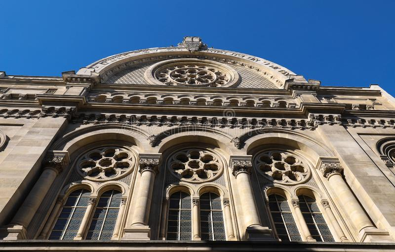 Great synagogue of Paris. Also known as La Victoire synagogue , it is the largest synagogue in France. The Great synagogue of Paris. Also known as La Victoire royalty free stock photo
