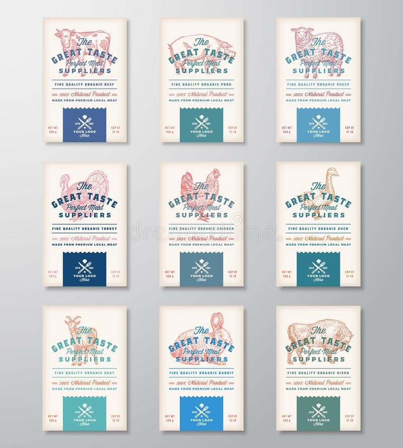 Great Taste Perfect Meat and Poultry. Abstract Vector Meat Packaging Design Banners or Labels Collection. Retro stock illustration