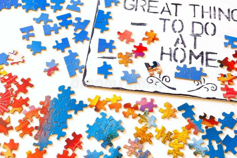 Great things to do at home serie setting puzzle stock photo