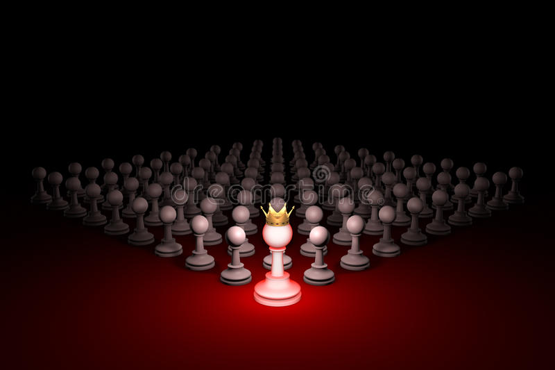 Great threat. Strong army (chess metaphor). 3D rendering illustration. Free space for text. Chess composition. Standing Out from the Crowd. Available in high vector illustration