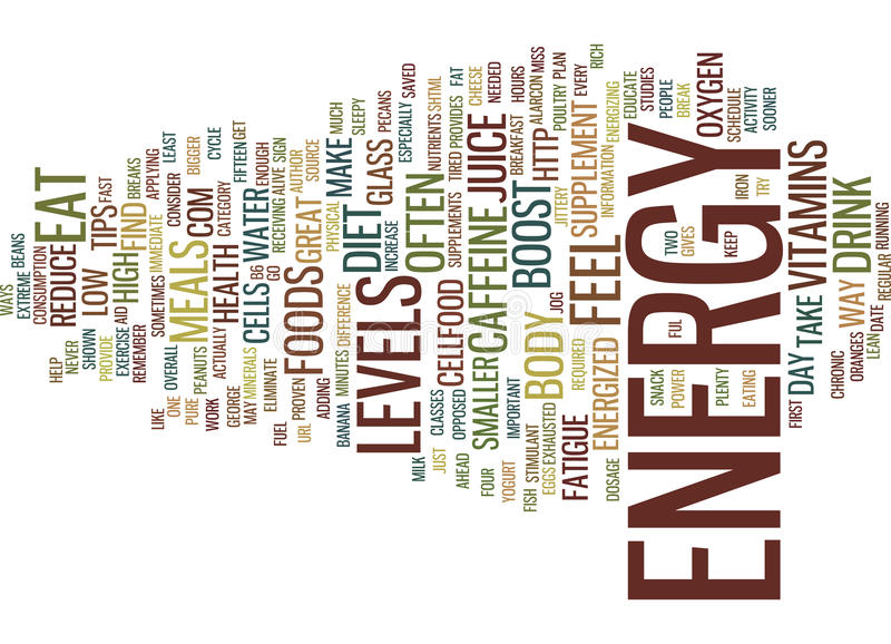 Great Tips To Increase Energy Levels Text Background Word Cloud Concept stock illustration