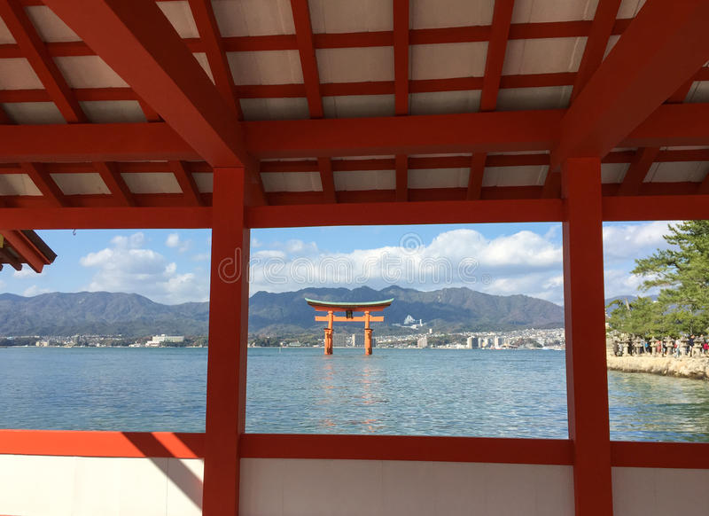The great Torii in Miyajima island. Hiroshima, Japan. View from Itsukushima Shrine royalty free stock photo
