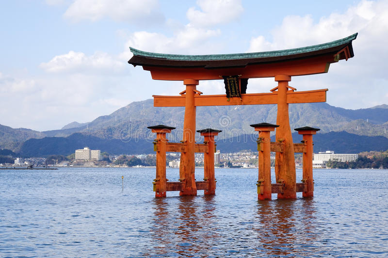 Great Torii at Miyajima island, Japan. The Great Torii at Miyajima island, Japan. Miyajima is one of the crown jewels of Japan, and certainly one of its finest royalty free stock photography