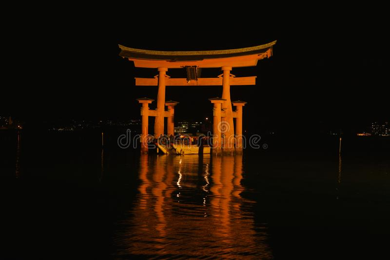 Great torii at night, Miyajima royalty free stock photos