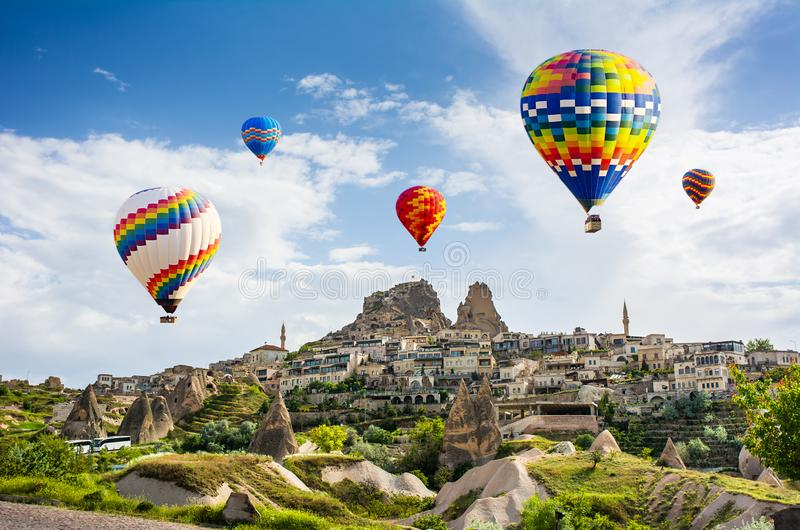 The great tourist attraction of Cappadocia - balloon flight. Cap. Padocia is known around the world as one of the best places to fly with hot air balloons stock photo