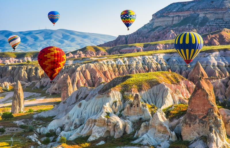 The great tourist attraction of Cappadocia - balloon flight. Cap. Padocia is known around the world as one of the best places to fly with hot air balloons royalty free stock photo