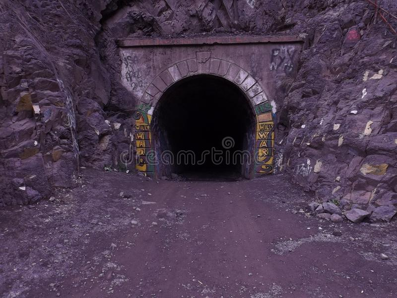 Great tunnel in Andes mountain stock image