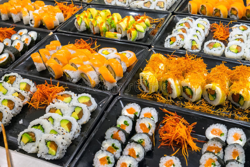 Great variety of sushi rolls royalty free stock photography