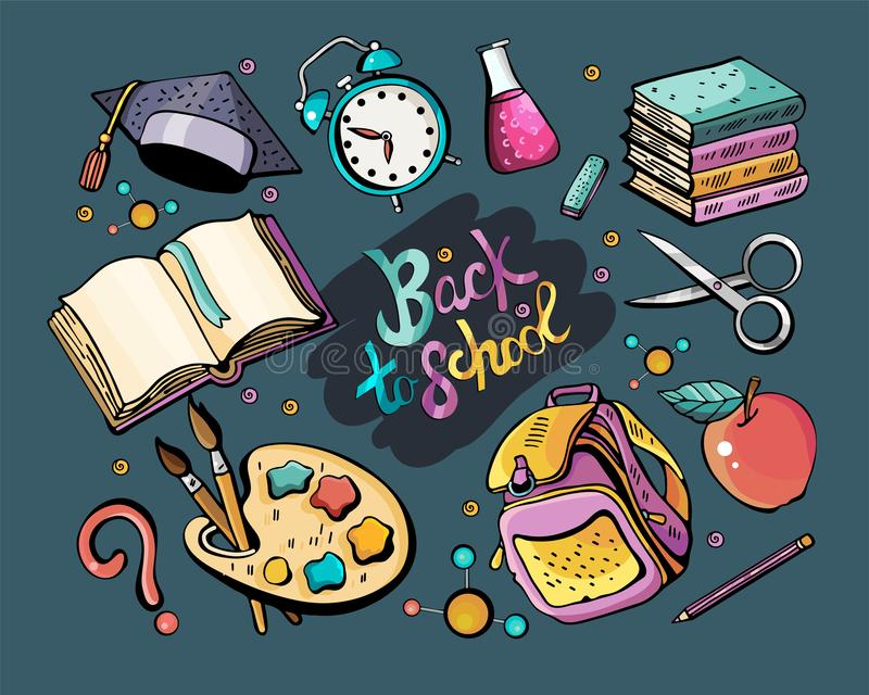 Great vector set back to school. Colorful vector hand drawn Doodle cartoon set of themed elements, objects and symbols. Collection vector illustration