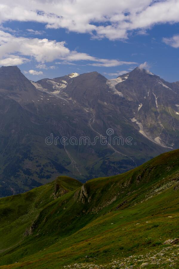 Great view of the alpine green mountains. stock photography