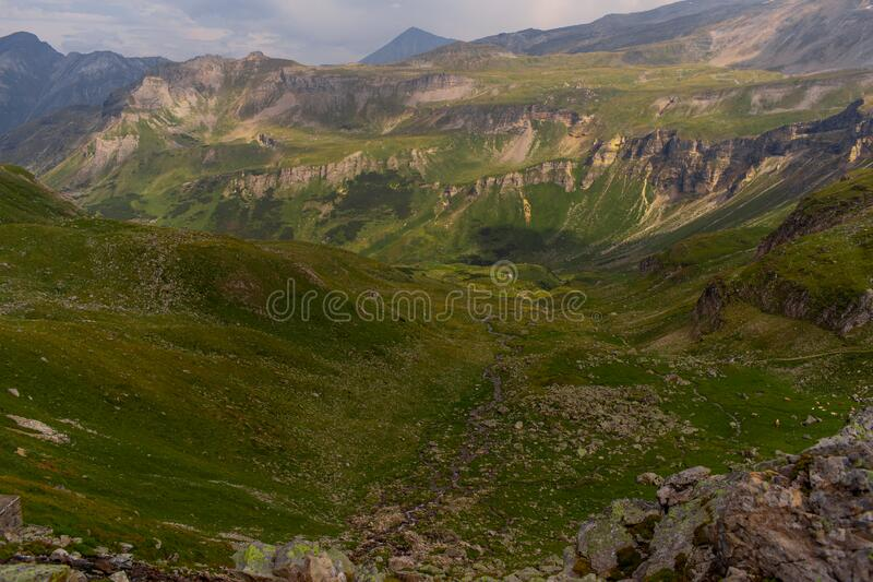 Great view of the alpine green mountains. royalty free stock photo
