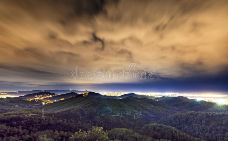 Great View of the city at dusk at the top of the mountain train station in the morning stock photo
