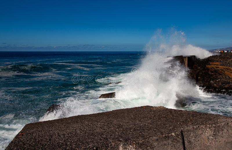 Great view with crashed waves by the sea stock photo
