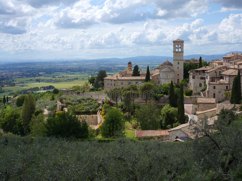 Great view over Assisi and Umbrian countryside royalty free stock photo