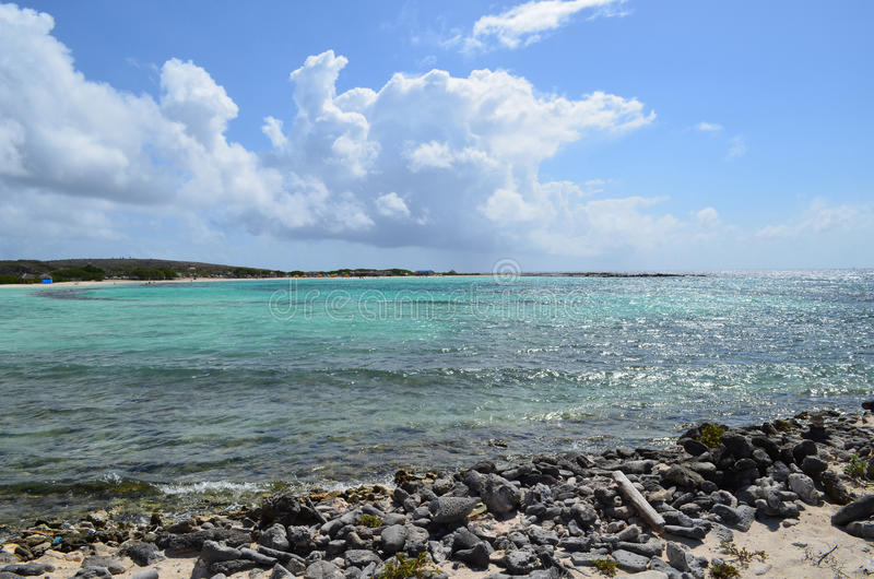 Great Views of Baby Beach in Aruba. Clear crystal waters of Baby Beach in Aruba perfect cove for snorkeling stock photos