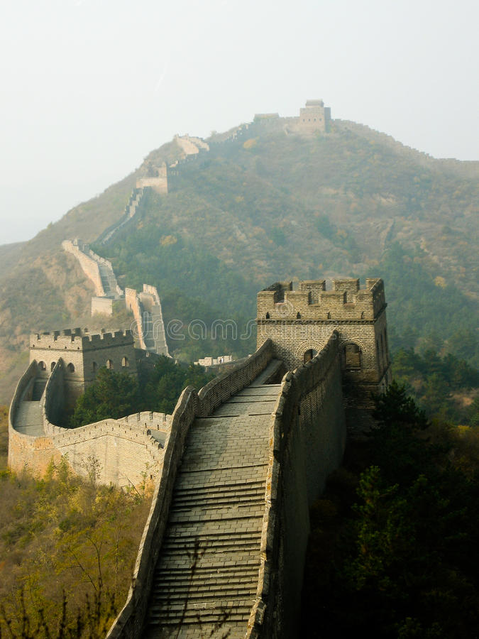 The Great Wall. View of the Great Wall of China as it sprawls across the hills in Simatai near Beijing (restored section stock photography