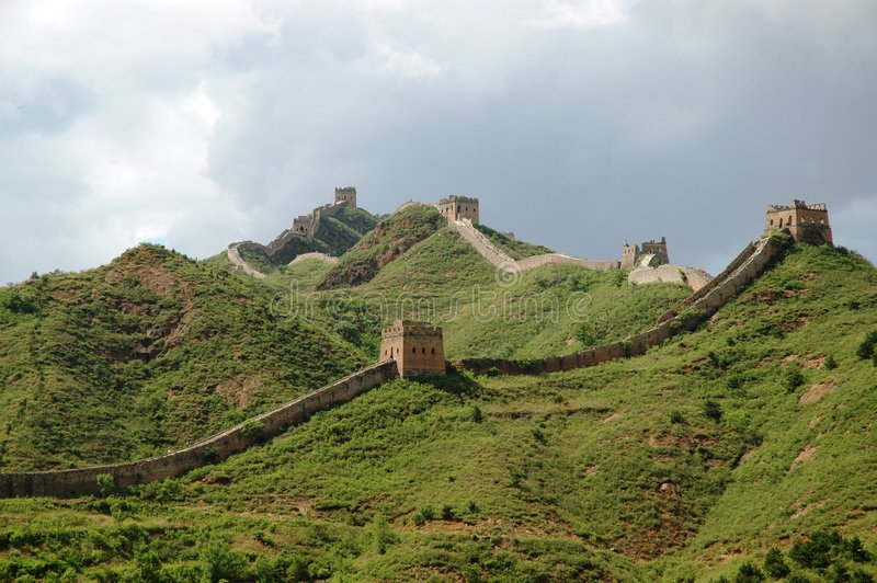 Great Wall. The great wall of China, serpentining along the hills with watchtowers