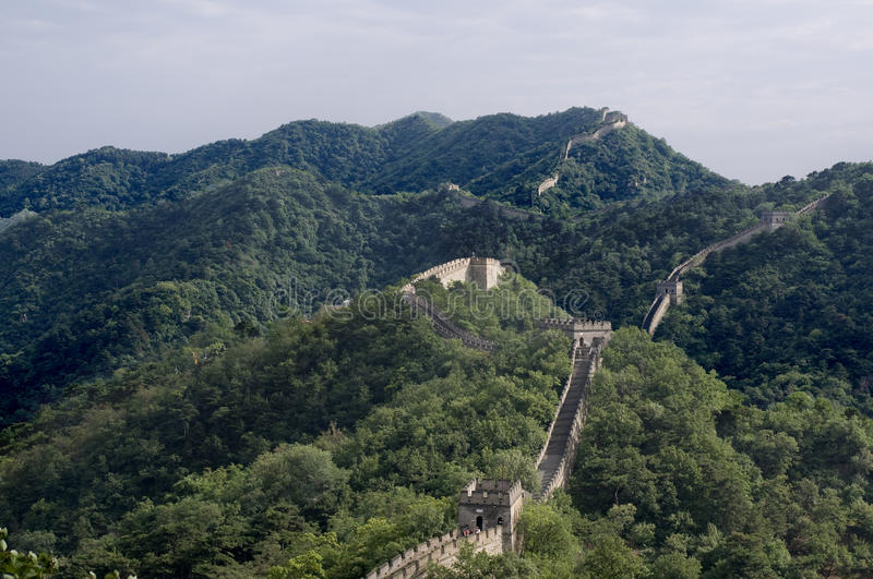 The great wall. Overview of The Great Wall over the hills near Beijing stock photos