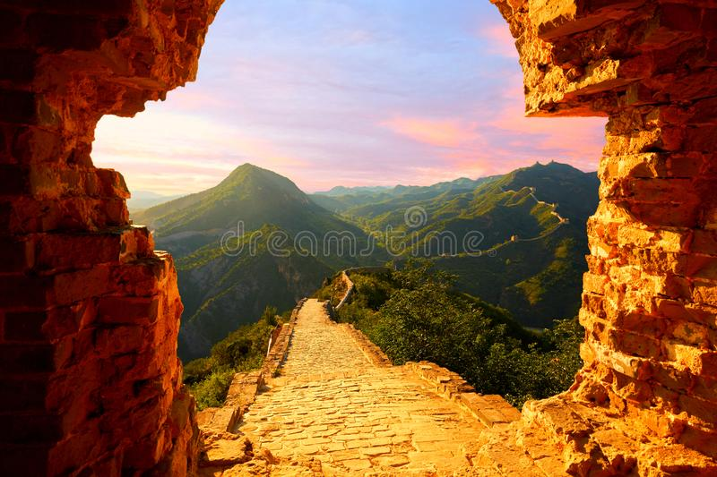 Beijing Great Wall, China. Panorama view of Great Wall in sunset with orange atmosphere, Simatai section, Beijing, China stock images