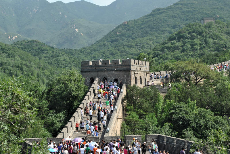 Great Wall of China. Sight of a line of the great Chinese wall visited by a lot of tourists by the whole world royalty free illustration
