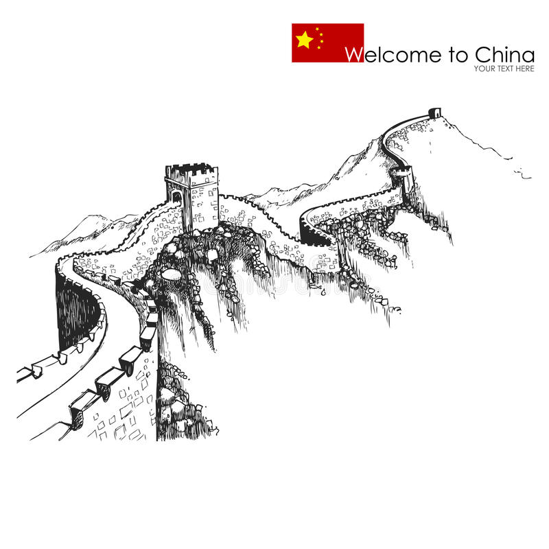 Great wall of China vector illustration