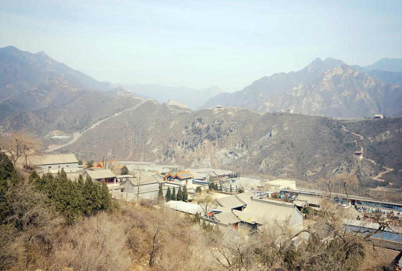 Great Wall of China and ancient chinese village stock images
