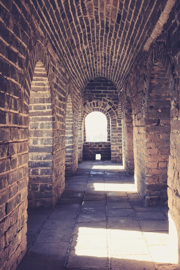 Great wall of china Architecture details Vault Brick wall Historical site. Walkway royalty free stock image