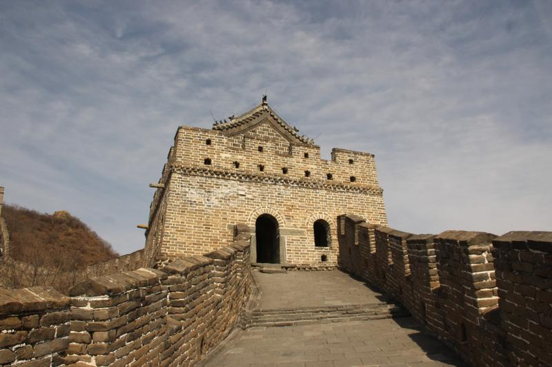 Great Wall of China on autumn sunny day royalty free stock images