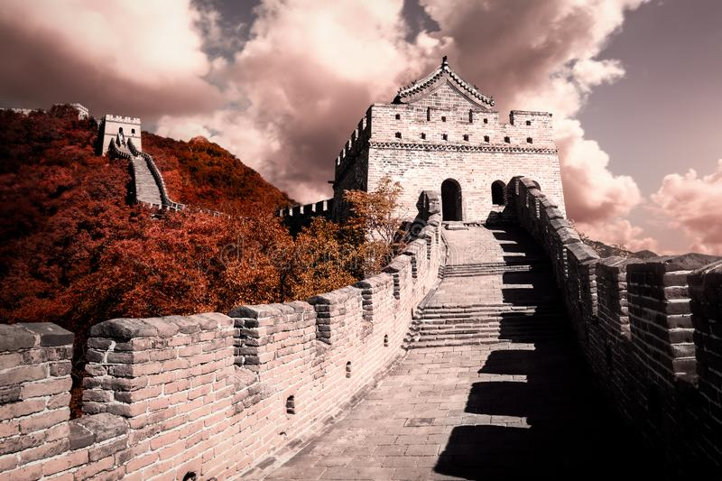 The Great Wall of China. A beautiful warm sunset over the famous Great Wall of China, Beijing stock photo