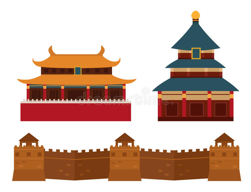 Great wall of China beijing asia landmark brick architecture culture history vector illustration. stock illustration