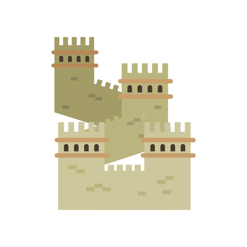 Great Wall of China. Colored landmark icon in flat style. Ancient cultural monument. Historical northern border royalty free illustration
