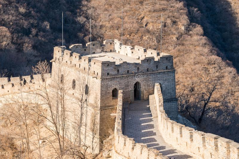 Great Wall of China - Day Winter browns, corner turret watchtower - with no recognisable people royalty free stock photography