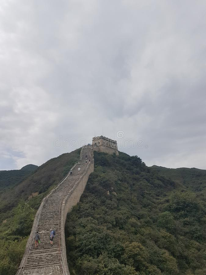 Climbing the Great Wall of China stock photos