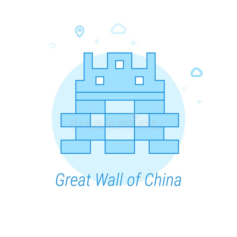 Great Wall of China Flat Vector Illustration, Icon. Light Blue Monochrome Design. Editable Stroke vector illustration