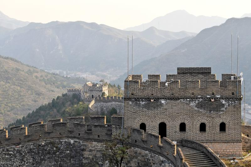 Great Wall of China. The Great Wall of China is a series of fortifications made of stone, brick, tamped earth, wood, and other materials, generally built along royalty free stock image