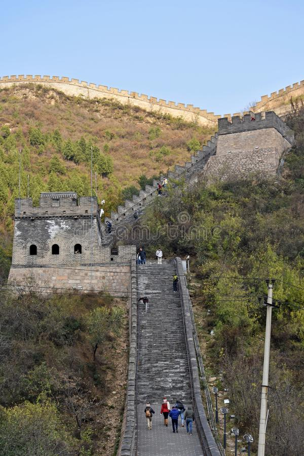 Great Wall of China. The Great Wall of China is a series of fortifications made of stone, brick, tamped earth, wood, and other materials, generally built along stock image