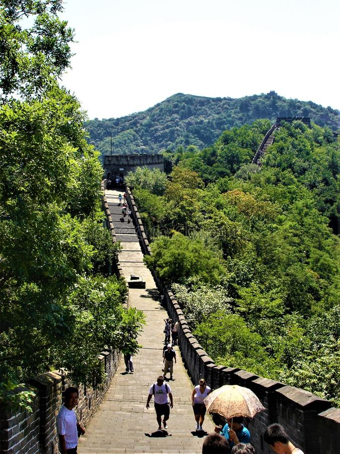 The Great Wall of China. History, time, nature and fascination. Beauty and environment, trees and vegetation, touristic attraction and landmark, tourists and stock photography