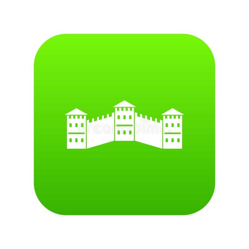 Great Wall of China icon digital green vector illustration