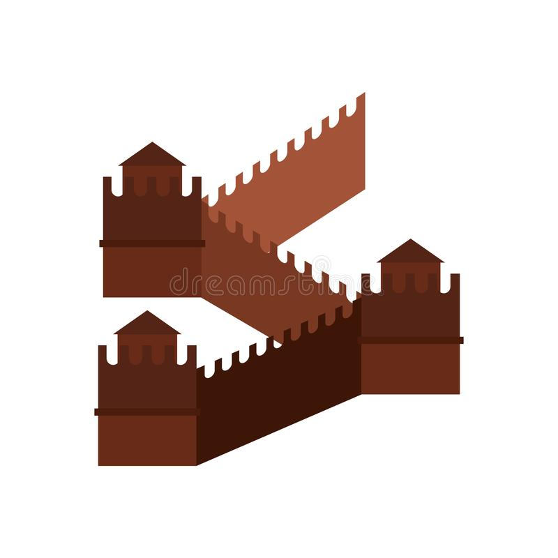 Great Wall of China icon, flat style vector illustration
