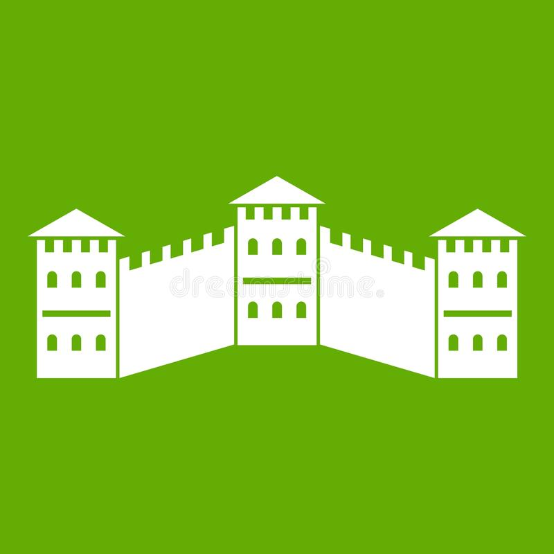 Great Wall of China icon green stock illustration
